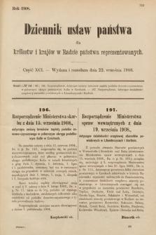 Dziennik Ustaw Państwa dla Królestw i Krajów w Radzie Państwa Reprezentowanych. 1908, cz.91