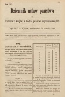 Dziennik Ustaw Państwa dla Królestw i Krajów w Radzie Państwa Reprezentowanych. 1908, cz.95