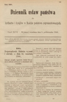 Dziennik Ustaw Państwa dla Królestw i Krajów w Radzie Państwa Reprezentowanych. 1908, cz.96