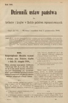 Dziennik Ustaw Państwa dla Królestw i Krajów w Radzie Państwa Reprezentowanych. 1908, cz.97