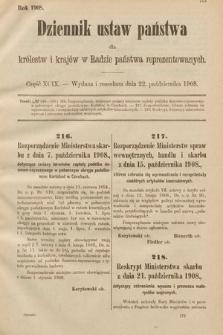 Dziennik Ustaw Państwa dla Królestw i Krajów w Radzie Państwa Reprezentowanych. 1908, cz.99
