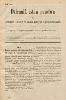 Dziennik Ustaw Państwa dla Królestw i Krajów w Radzie Państwa Reprezentowanych. 1908, cz.100