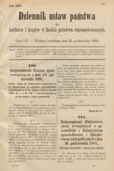 Dziennik Ustaw Państwa dla Królestw i Krajów w Radzie Państwa Reprezentowanych. 1908, cz.101