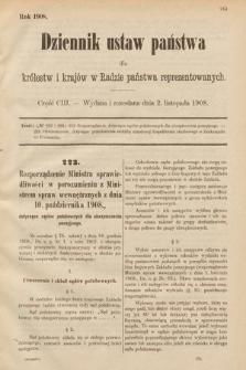 Dziennik Ustaw Państwa dla Królestw i Krajów w Radzie Państwa Reprezentowanych. 1908, cz.103