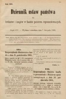 Dziennik Ustaw Państwa dla Królestw i Krajów w Radzie Państwa Reprezentowanych. 1908, cz.104