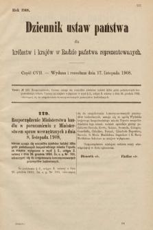 Dziennik Ustaw Państwa dla Królestw i Krajów w Radzie Państwa Reprezentowanych. 1908, cz.107