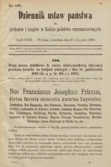Dziennik Ustaw Państwa dla Królestw i Krajów w Radzie Państwa Reprezentowanych. 1908, cz.108