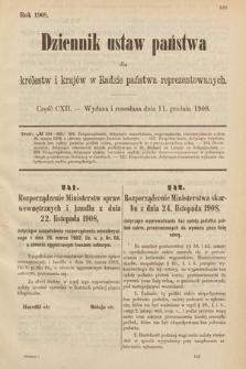 Dziennik Ustaw Państwa dla Królestw i Krajów w Radzie Państwa Reprezentowanych. 1908, cz.112