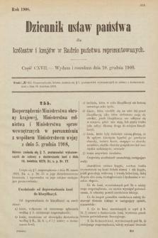 Dziennik Ustaw Państwa dla Królestw i Krajów w Radzie Państwa Reprezentowanych. 1908, cz.117