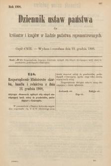 Dziennik Ustaw Państwa dla Królestw i Krajów w Radzie Państwa Reprezentowanych. 1908, cz.119