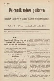 Dziennik Ustaw Państwa dla Królestw i Krajów w Radzie Państwa Reprezentowanych. 1908, cz.120