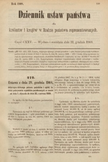 Dziennik Ustaw Państwa dla Królestw i Krajów w Radzie Państwa Reprezentowanych. 1908, cz.125
