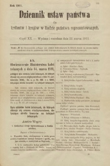 Dziennik Ustaw Państwa dla Królestw i Krajów w Radzie Państwa Reprezentowanych. 1911, cz.20