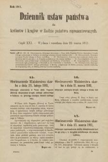 Dziennik Ustaw Państwa dla Królestw i Krajów w Radzie Państwa Reprezentowanych. 1911, cz.21