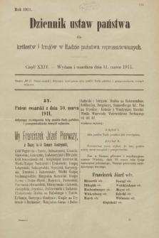 Dziennik Ustaw Państwa dla Królestw i Krajów w Radzie Państwa Reprezentowanych. 1911, cz.24