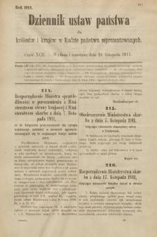 Dziennik Ustaw Państwa dla Królestw i Krajów w Radzie Państwa Reprezentowanych. 1911, cz.92