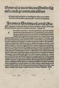 Generalis doctrina de modis significandi grammaticalibus [...]