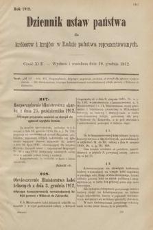 Dziennik Ustaw Państwa dla Królestw i Krajów w Radzie Państwa Reprezentowanych. 1912, cz.92