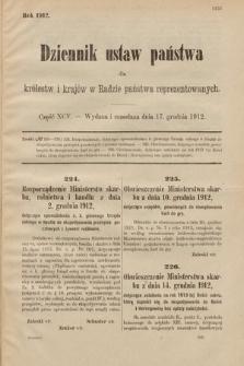 Dziennik Ustaw Państwa dla Królestw i Krajów w Radzie Państwa Reprezentowanych. 1912, cz.95