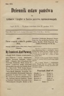 Dziennik Ustaw Państwa dla Królestw i Krajów w Radzie Państwa Reprezentowanych. 1912, cz.96