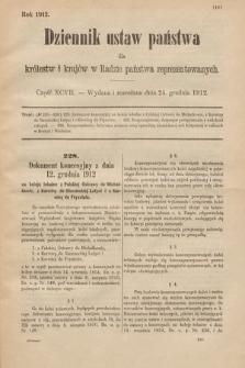 Dziennik Ustaw Państwa dla Królestw i Krajów w Radzie Państwa Reprezentowanych. 1912, cz.97