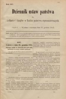 Dziennik Ustaw Państwa dla Królestw i Krajów w Radzie Państwa Reprezentowanych. 1912, cz.100