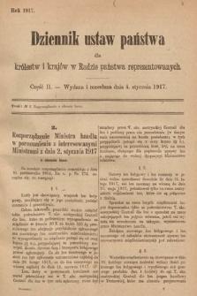 Dziennik Ustaw Państwa dla Królestw i Krajów w Radzie Państwa Reprezentowanych. 1917, cz.2