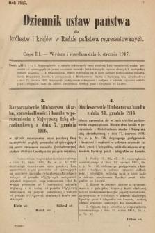 Dziennik Ustaw Państwa dla Królestw i Krajów w Radzie Państwa Reprezentowanych. 1917, cz.3