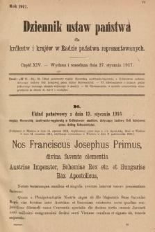 Dziennik Ustaw Państwa dla Królestw i Krajów w Radzie Państwa Reprezentowanych. 1917, cz.14