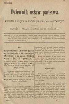 Dziennik Ustaw Państwa dla Królestw i Krajów w Radzie Państwa Reprezentowanych. 1917, cz.15