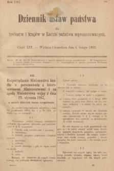 Dziennik Ustaw Państwa dla Królestw i Krajów w Radzie Państwa Reprezentowanych. 1917, cz.19