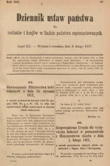 Dziennik Ustaw Państwa dla Królestw i Krajów w Radzie Państwa Reprezentowanych. 1917, cz.20