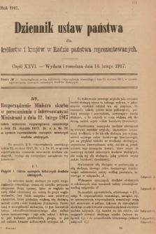 Dziennik Ustaw Państwa dla Królestw i Krajów w Radzie Państwa Reprezentowanych. 1917, cz.26