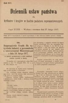 Dziennik Ustaw Państwa dla Królestw i Krajów w Radzie Państwa Reprezentowanych. 1917, cz.32