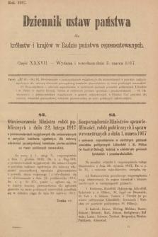 Dziennik Ustaw Państwa dla Królestw i Krajów w Radzie Państwa Reprezentowanych. 1917, cz.37