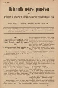 Dziennik Ustaw Państwa dla Królestw i Krajów w Radzie Państwa Reprezentowanych. 1917, cz.43
