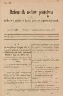 Dziennik Ustaw Państwa dla Królestw i Krajów w Radzie Państwa Reprezentowanych. 1917, cz.48