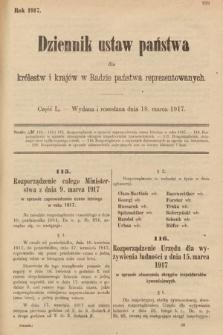 Dziennik Ustaw Państwa dla Królestw i Krajów w Radzie Państwa Reprezentowanych. 1917, cz.50