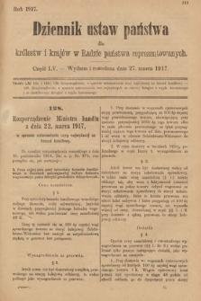 Dziennik Ustaw Państwa dla Królestw i Krajów w Radzie Państwa Reprezentowanych. 1917, cz.55
