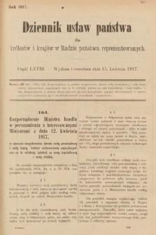 Dziennik Ustaw Państwa dla Królestw i Krajów w Radzie Państwa Reprezentowanych. 1917, cz.68