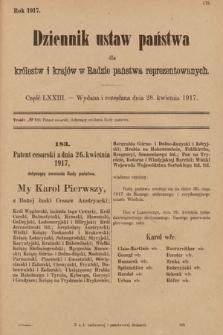 Dziennik Ustaw Państwa dla Królestw i Krajów w Radzie Państwa Reprezentowanych. 1917, cz.73