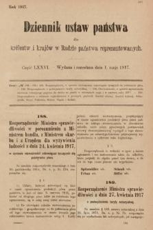 Dziennik Ustaw Państwa dla Królestw i Krajów w Radzie Państwa Reprezentowanych. 1917, cz.76