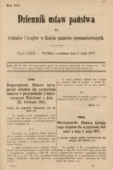Dziennik Ustaw Państwa dla Królestw i Krajów w Radzie Państwa Reprezentowanych. 1917, cz.80