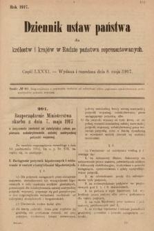 Dziennik Ustaw Państwa dla Królestw i Krajów w Radzie Państwa Reprezentowanych. 1917, cz.81