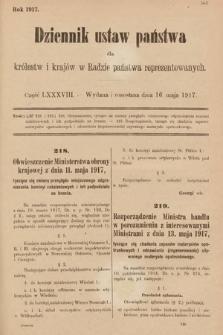 Dziennik Ustaw Państwa dla Królestw i Krajów w Radzie Państwa Reprezentowanych. 1917, cz.88