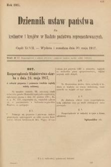 Dziennik Ustaw Państwa dla Królestw i Krajów w Radzie Państwa Reprezentowanych. 1917, cz.97