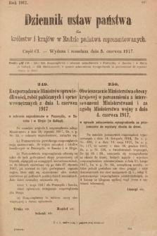 Dziennik Ustaw Państwa dla Królestw i Krajów w Radzie Państwa Reprezentowanych. 1917, cz.101