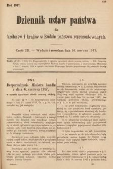 Dziennik Ustaw Państwa dla Królestw i Krajów w Radzie Państwa Reprezentowanych. 1917, cz.102