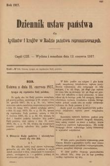 Dziennik Ustaw Państwa dla Królestw i Krajów w Radzie Państwa Reprezentowanych. 1917, cz.103