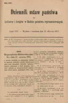 Dziennik Ustaw Państwa dla Królestw i Krajów w Radzie Państwa Reprezentowanych. 1917, cz.106